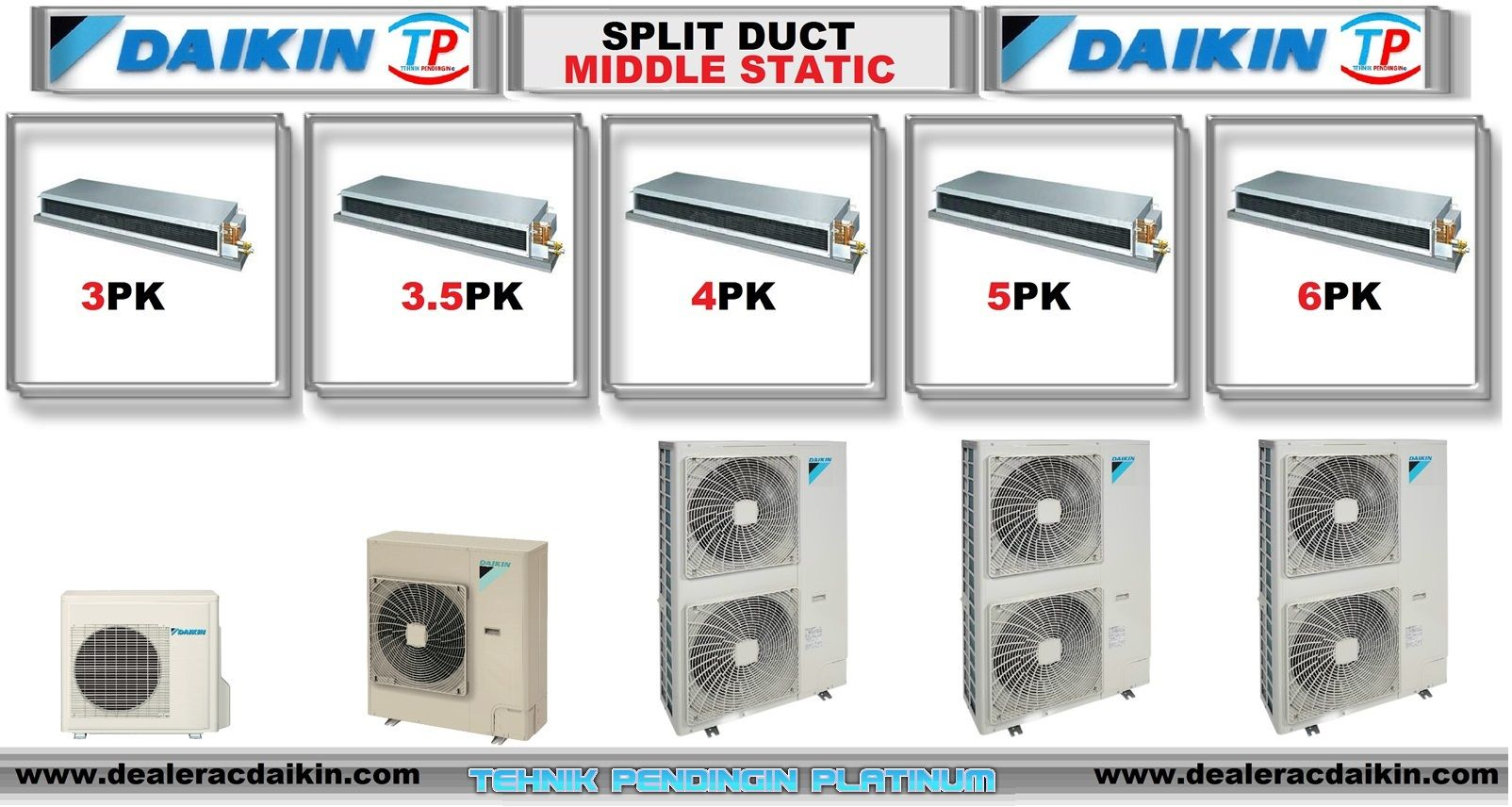 Ac Split Duct Daikin 5 Pk Middle Static Daikin Airconditioner