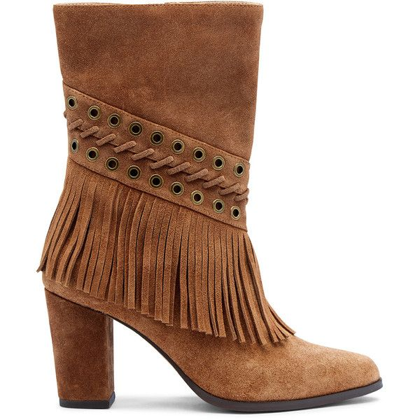 Joes Jeans Hanover Fringe Mid Calf Boot ($146) ❤ liked on Polyvore  featuring shoes