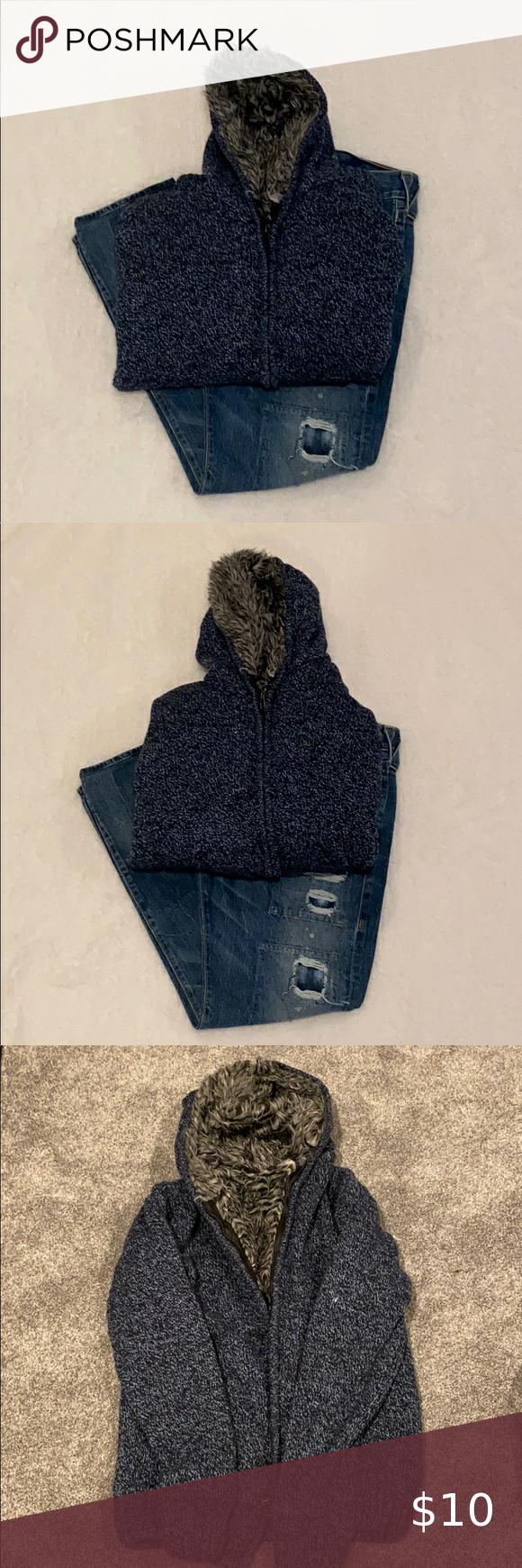Men wool sweater zip up jacket size M
