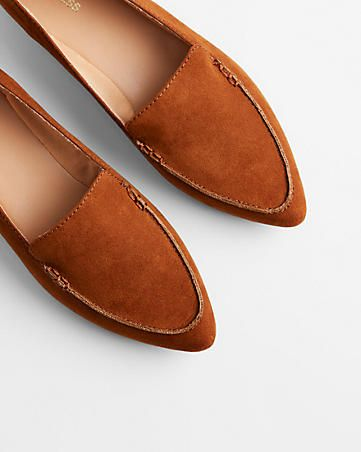 faux suede pointed toe loafers