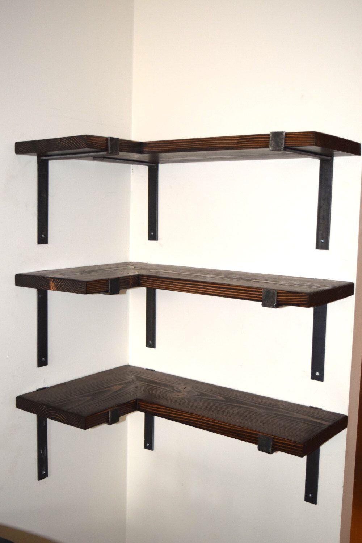 Corner Shelf w/ Industrial Steel Brackets Industrial