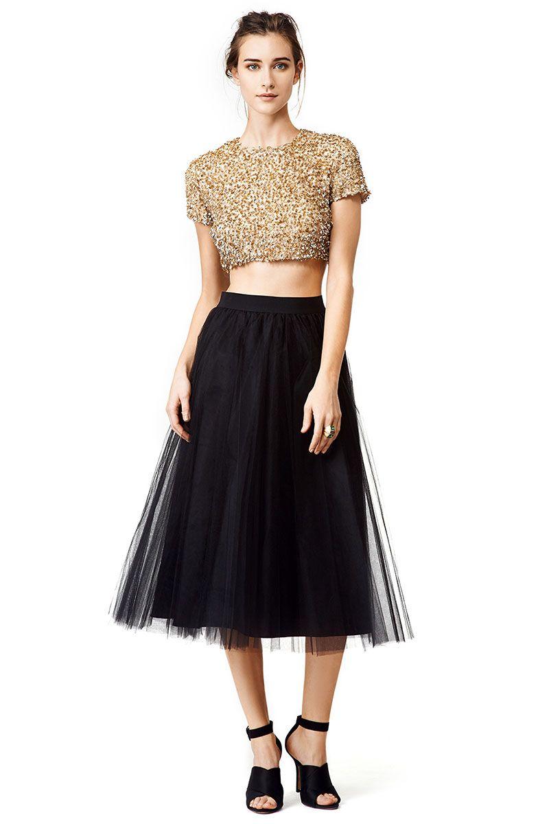 Black a line short dress tulle sequin dress
