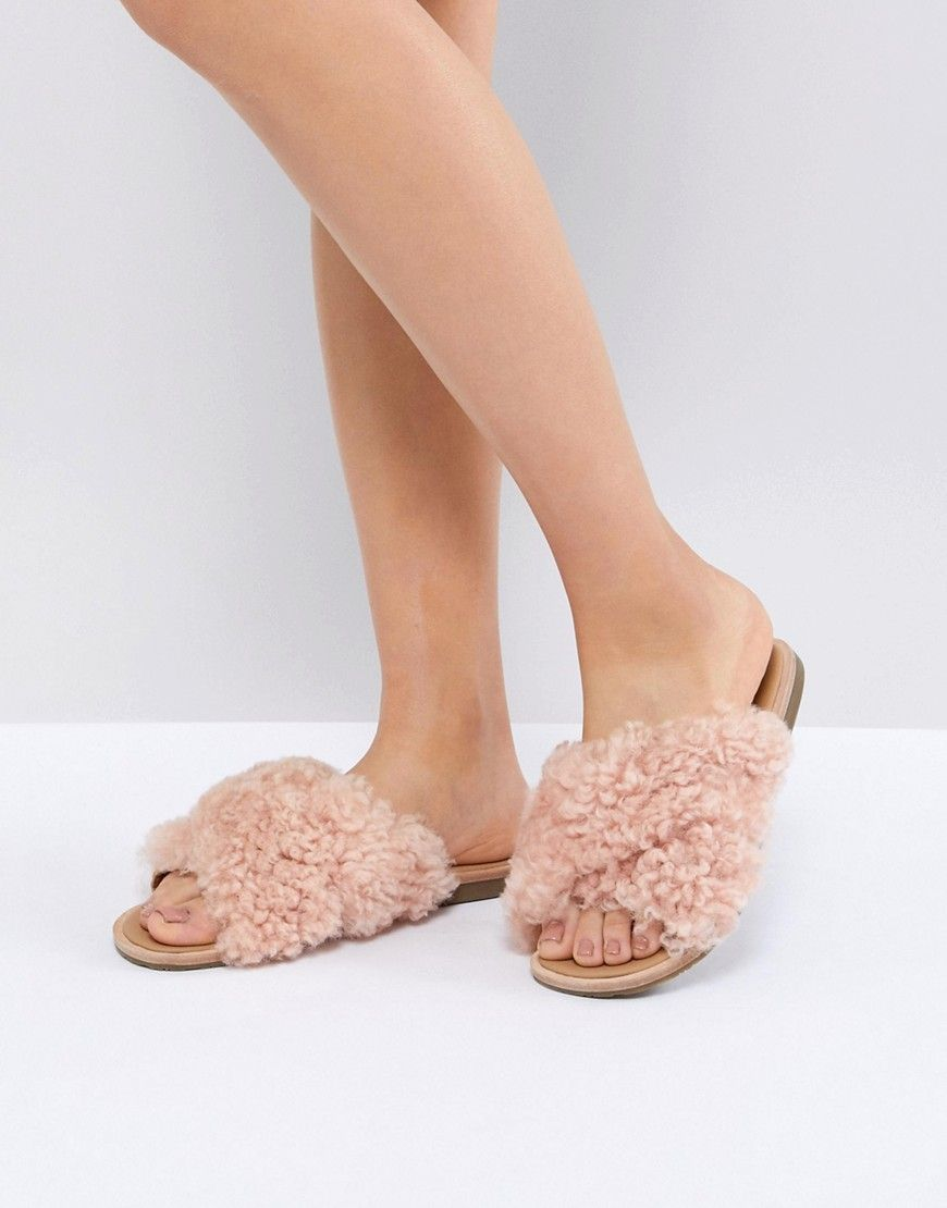 4116bc68355 UGG JONI PINK SHAGGY CROSS STRAP SLIDES - PINK. #ugg #shoes # | Ugg ...