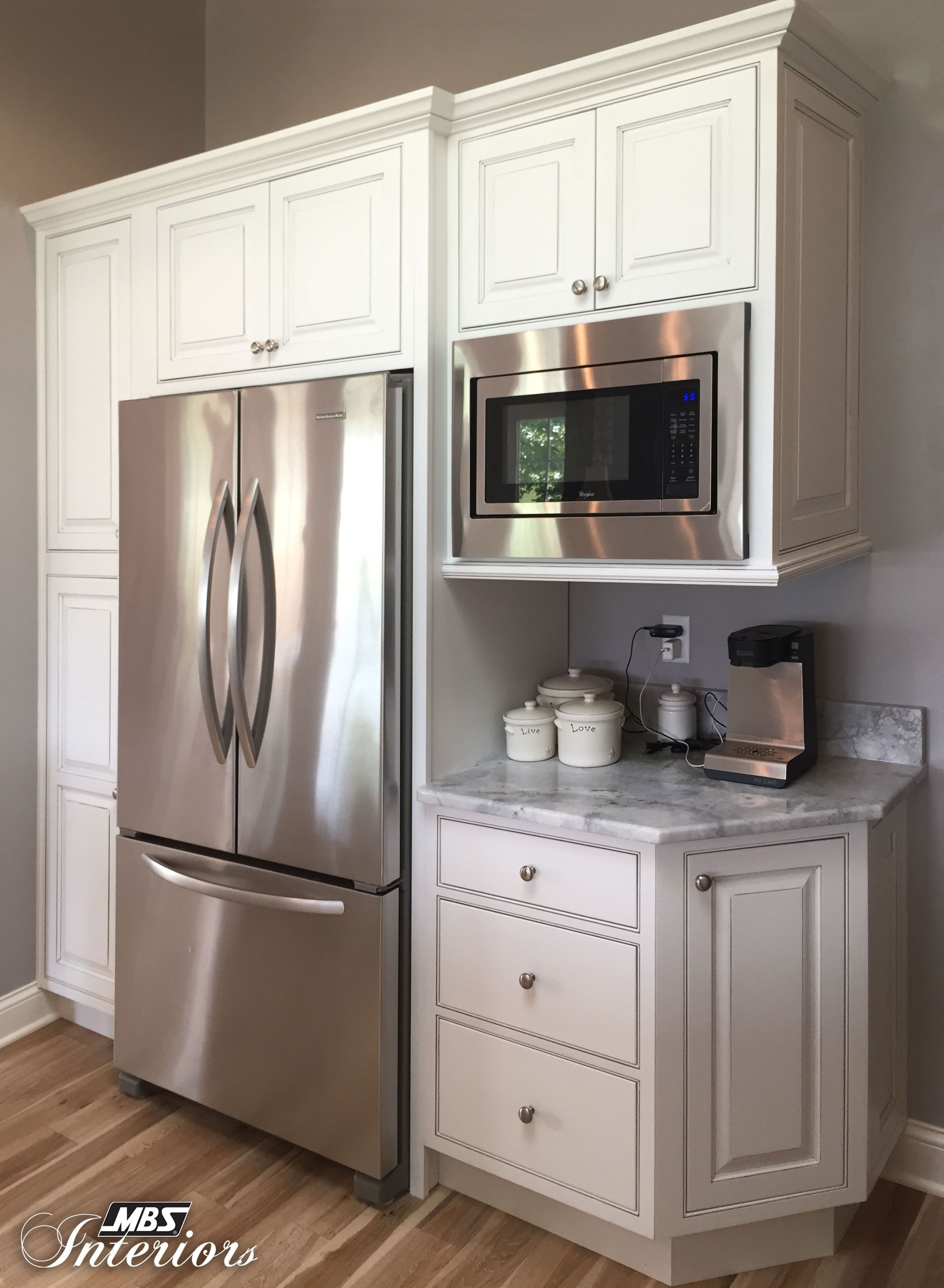 I Like The Microwave How It S Built Into The Cabinet And Separate From The Microwave Diy Kitchen Renovation Kitchen Layout New Kitchen Cabinets
