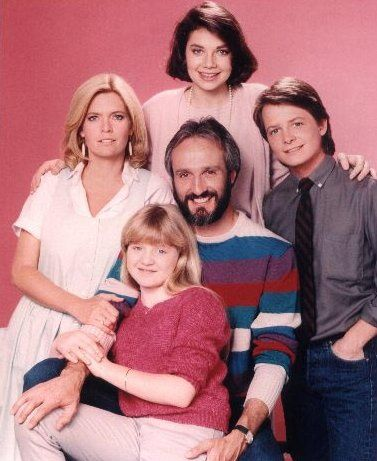 Steven and Elyse Keaton with daughters  Mallory and Jennifer and son Alex from Family Ties
