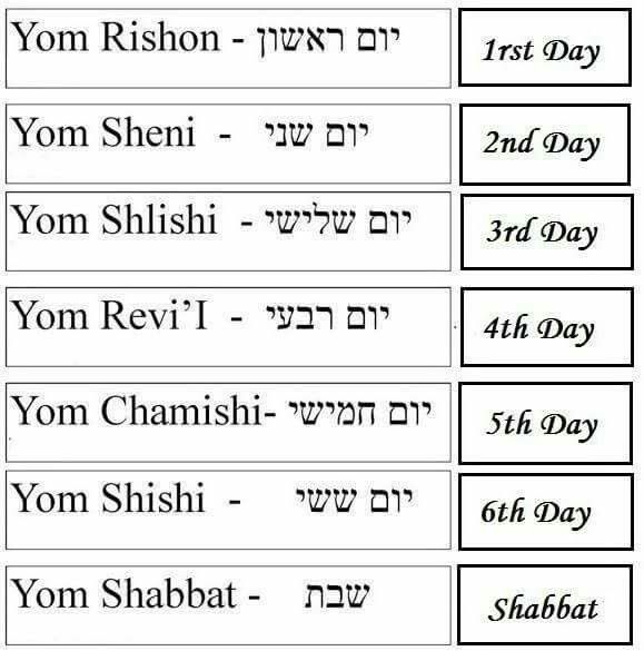 Days of the week.   Learn Hebrew   Pinterest