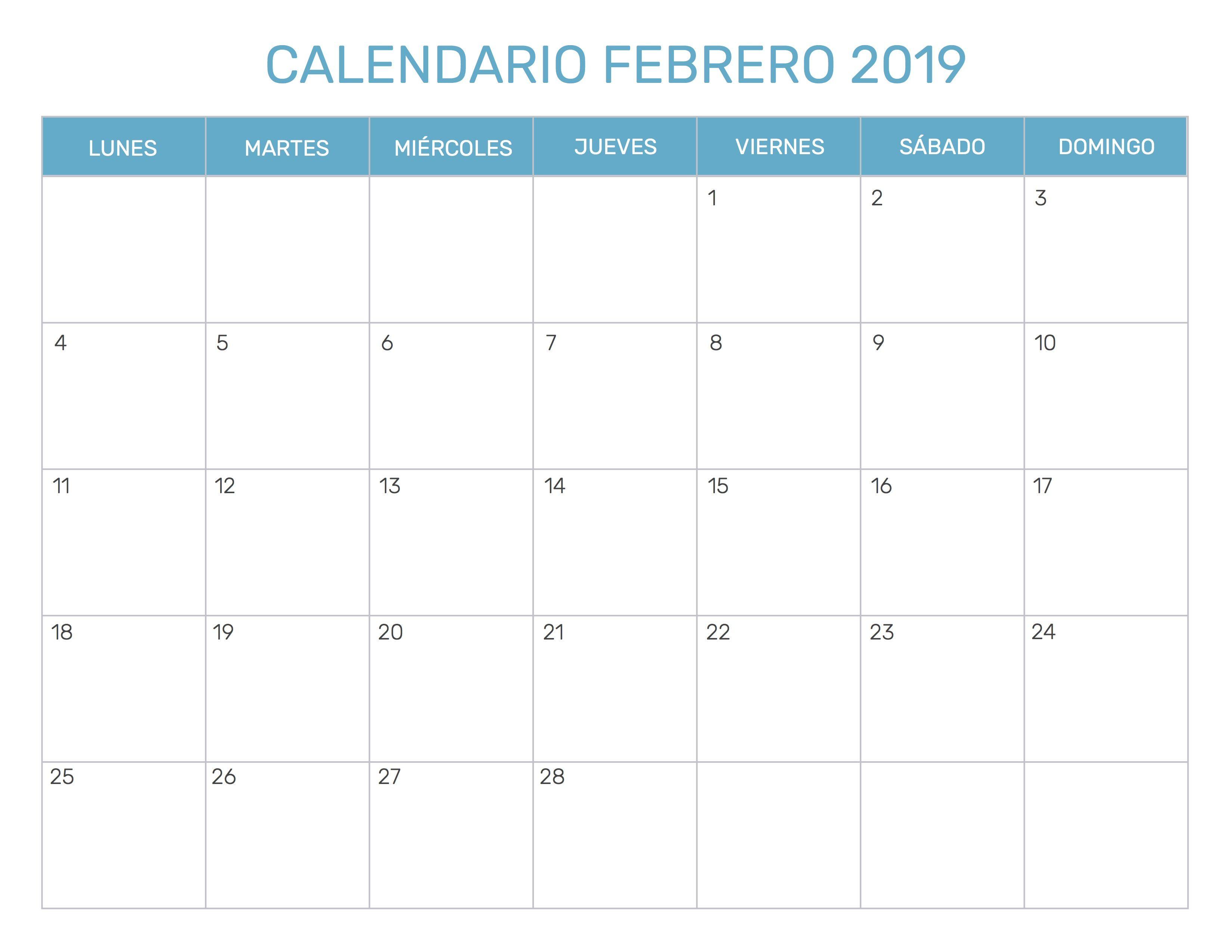 Calendario 2020 Excel Italiano.Calendario Febrero 2019 Excel 2019 Calendars Monthly