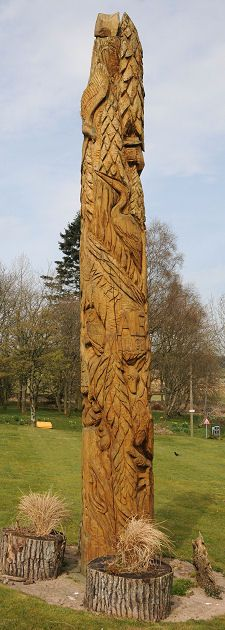 totem pole, ae village, dumfries & galloway - ae...the shortest place-name in the uk