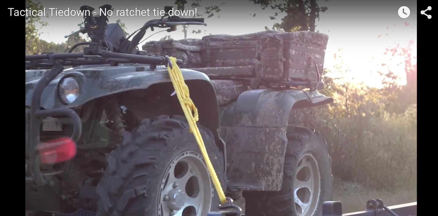 Click to View A Demo Video! Tactical Tiedown: Pull feed rope one way to tighten to a grip that solidly holds up to 700lbs!!! NO ratchets, NO clamps, NO know tying! This looks awesome for ATV Four wheelers, Truck bed hauling, boat applications, motorcycle transport, camping, lawn equipment and anything that could replace the clunky tie-down ratchet systems. It's like a Chinese-finger-trap, when you pull on each end, it tightens to an unrelenting grip! Check this video out, it's pretty…