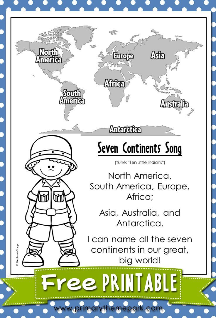 worksheet Continents Worksheets seven continents song geography and homeschool free printable