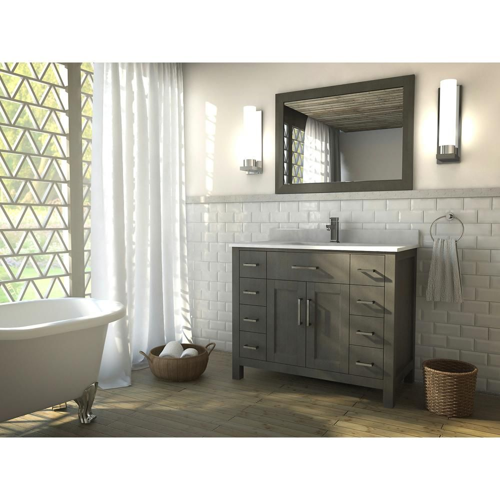 The Kent 42 Inch French Gray Finish Bathroom Vanity Is Maximum Storage Defined, Streamlining And