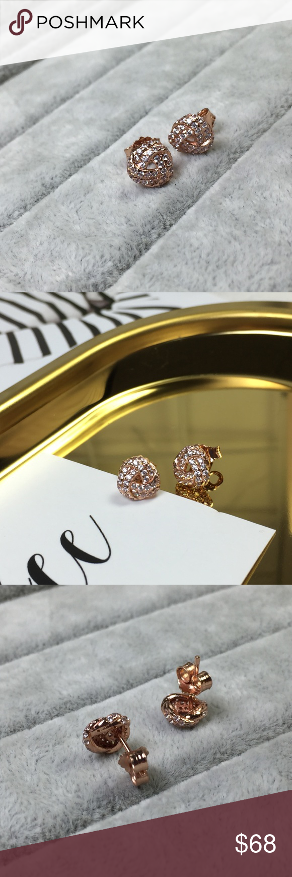 815148a49 Pandora Sparkling Love Knot Stud Rose Earrings Authentic Pandora Sparkling  Love Knot Stud Rose Earrings Included