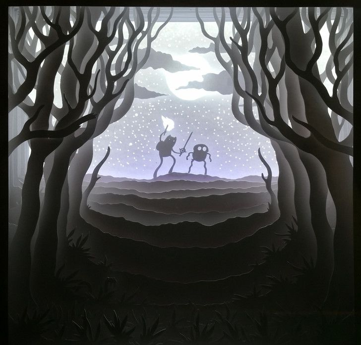 Shadowbox with hand-cut layered paper backlit with LEDs