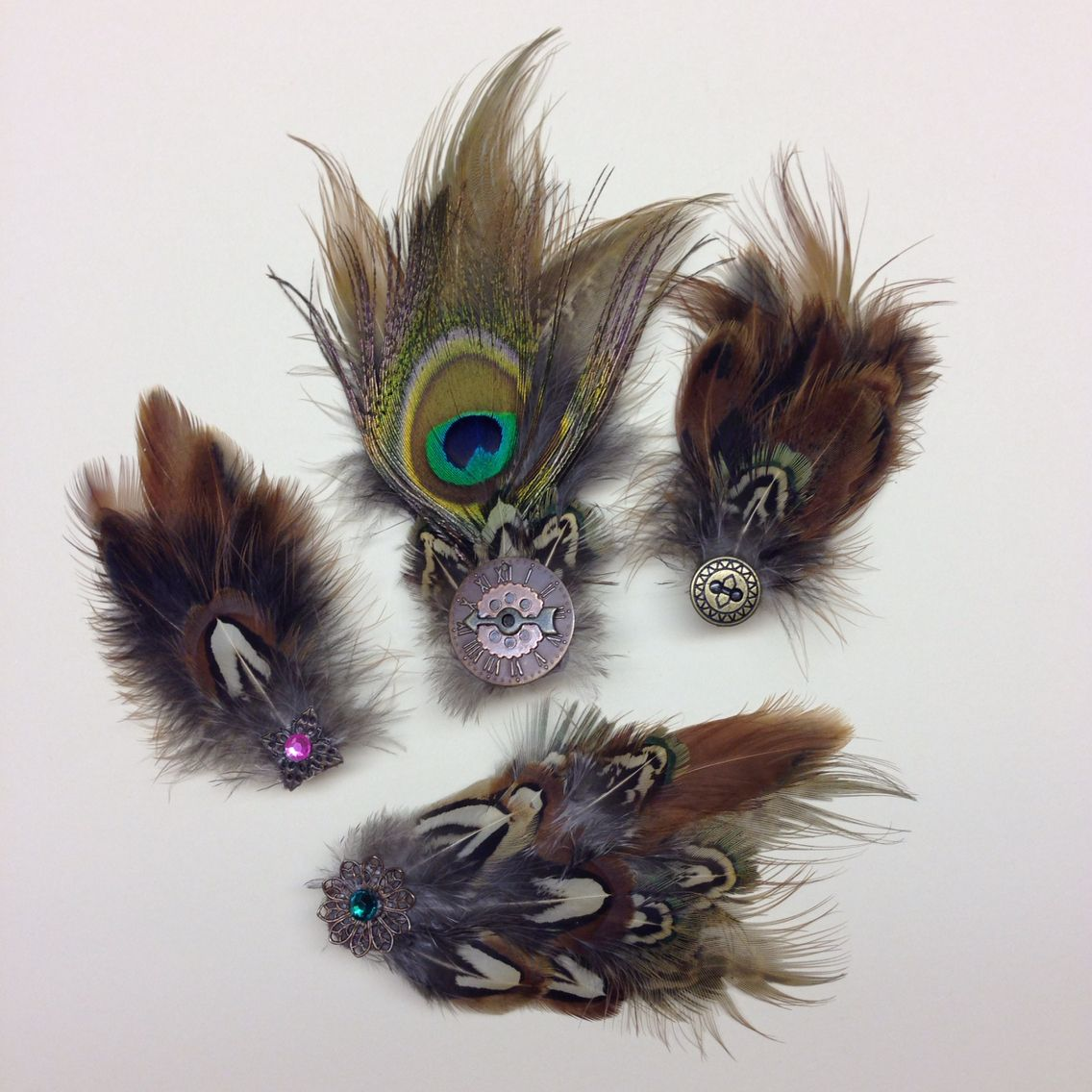 How to clean pheasant feathers - More Pheasant And Peacock Feather Barrettes For Avery And Adelyn