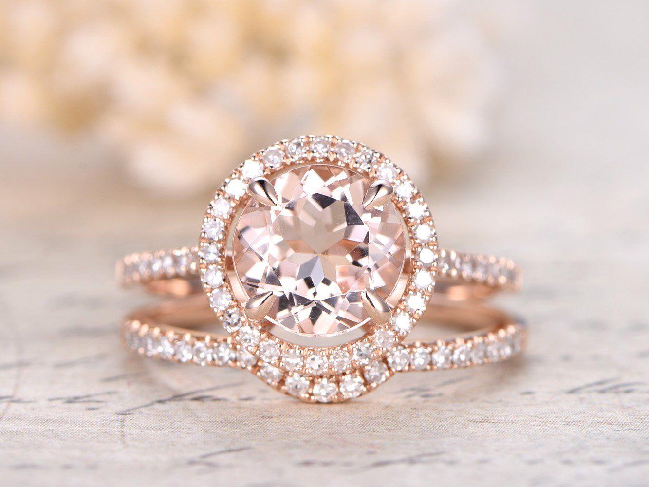 8mm Engagement Ring Rose Gold 2pcs Rings Set