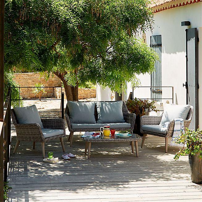 Excalibur Salon de jardin gris effet rotin tressé style bohème (4 ...