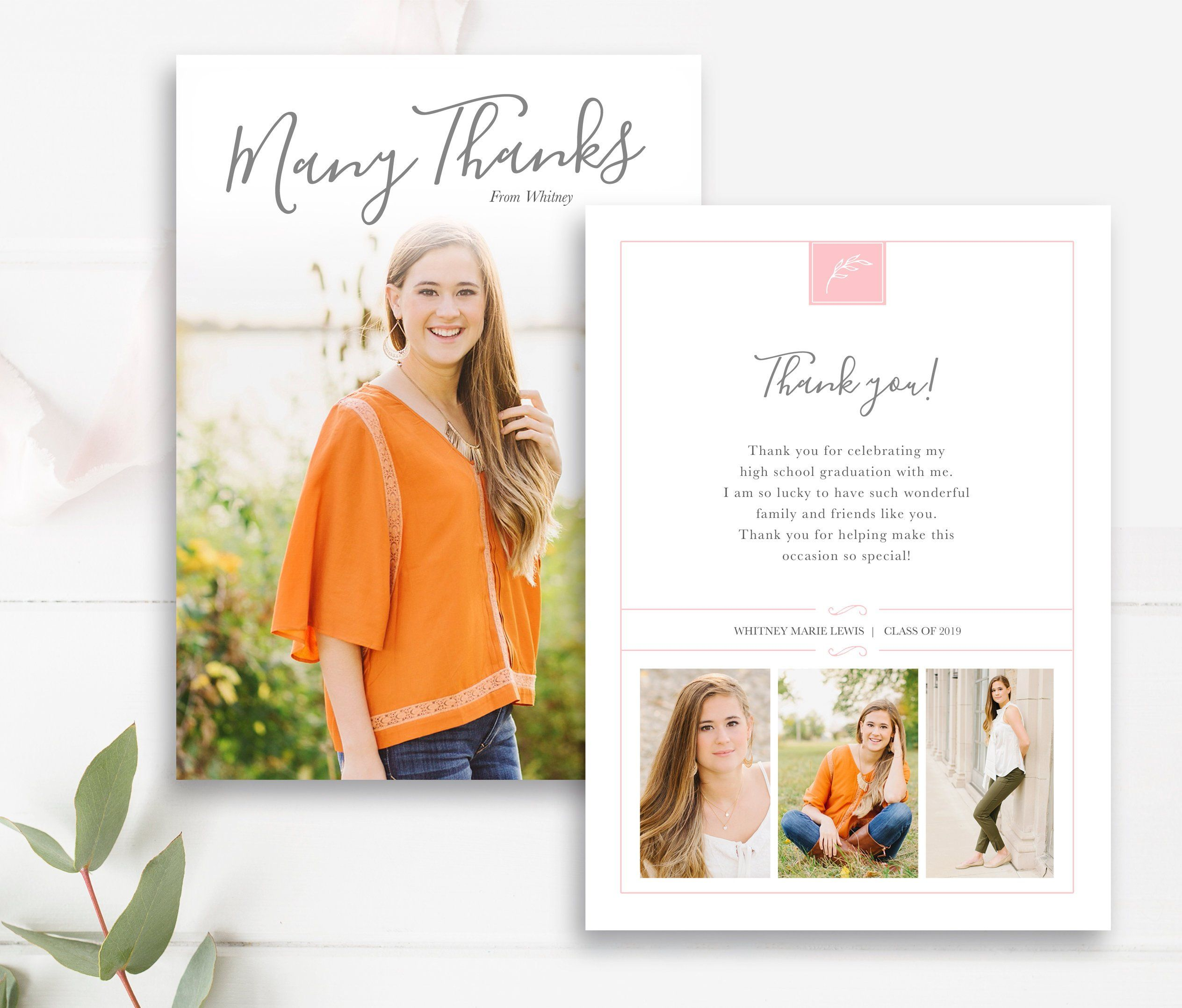 Graduation thank you card with photo personalized card