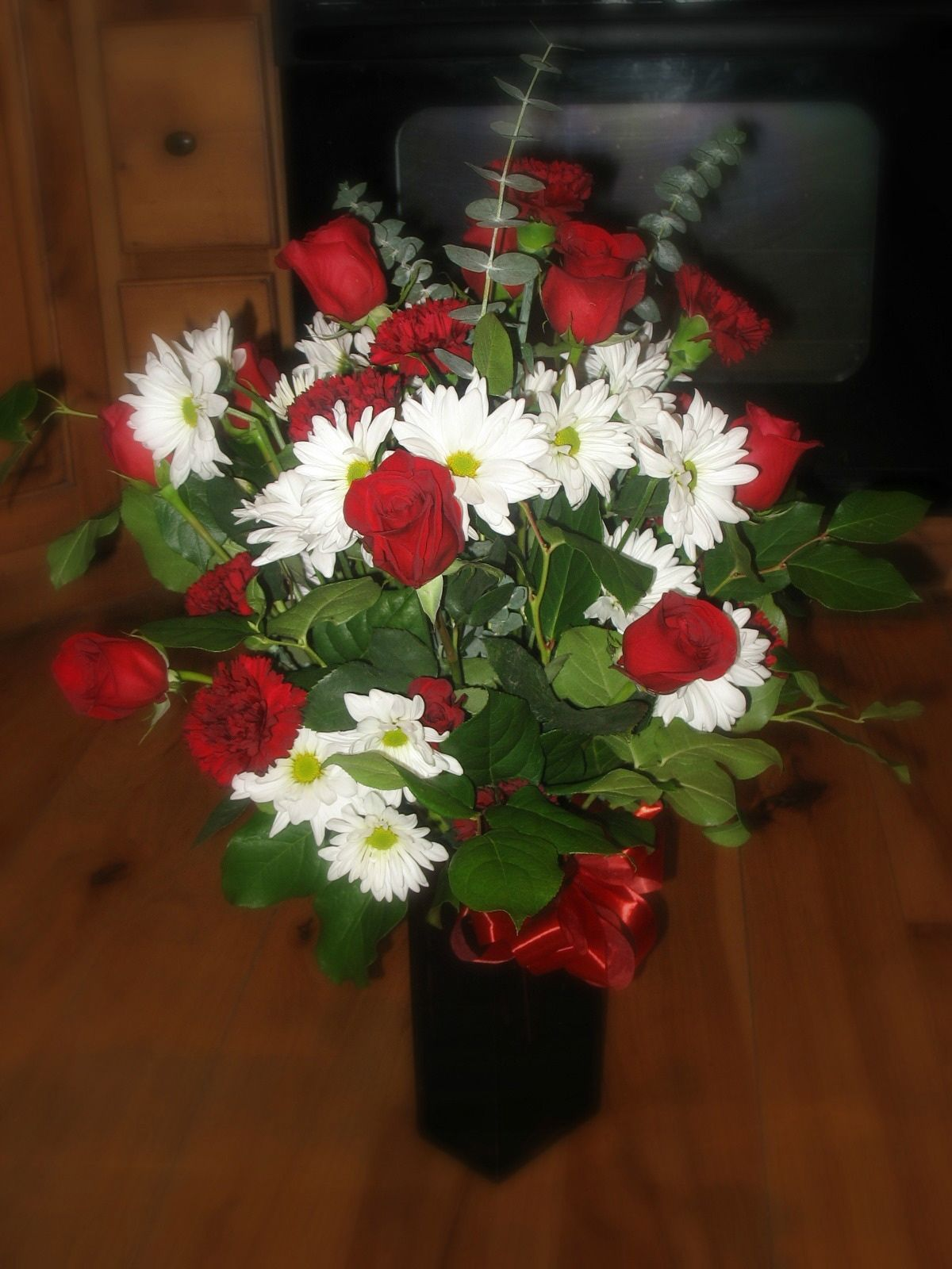 Red Rose And Carnation White Daisy And Eucalyptus Bouquet