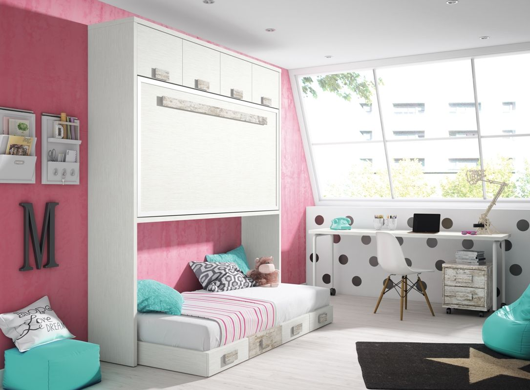 Double room shared room dormitorio doble habitacion - Fabricar cama abatible ...