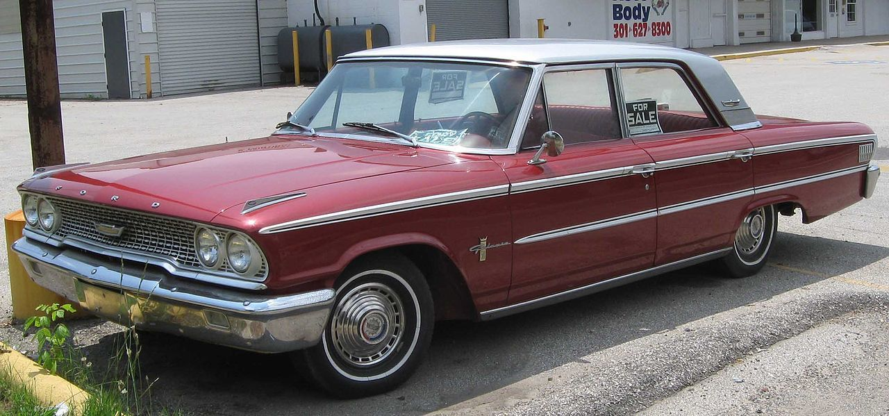 1963 Ford, Red and White Galaxie 500 4-Door Sedan.