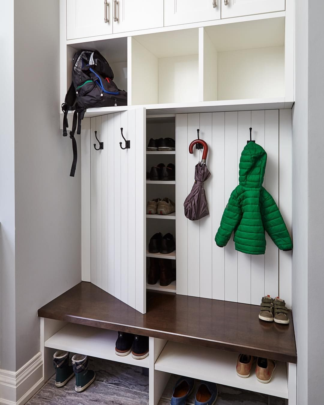 Our Creative Mudroom Design Features Hidden Shoe Storage Cabinets