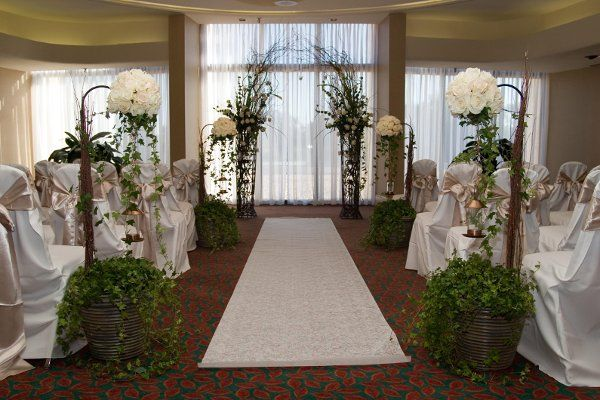 Brown Green White Aisle Markers Aisle Runner Altar/Arch
