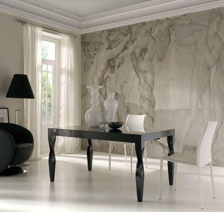 Mesa de comedor blanco lacado o negro patas vintage Medidas: 150 x ...