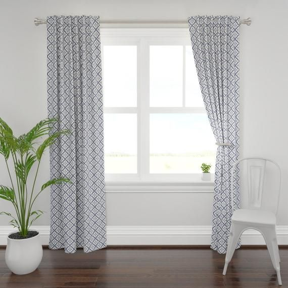 Moroccan Curtain Panel Navy White Ikat Moroccan Flower By