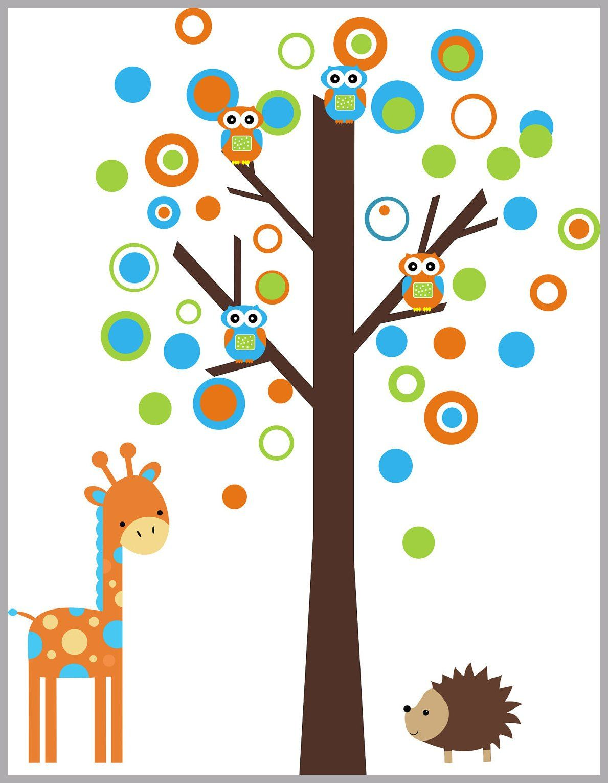 Forest wall decals circle and bubbles decals tall giraffe decal