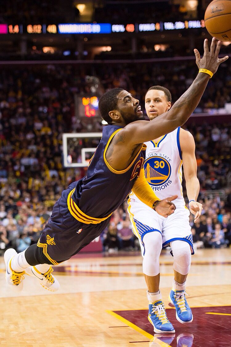 67482440f6e0 Kyrie Irving dives to keep the ball inbounds 2 26 2015 against Stephen Curry  of the Golden State Warriors. Cavs won the game 99 to 110!!!