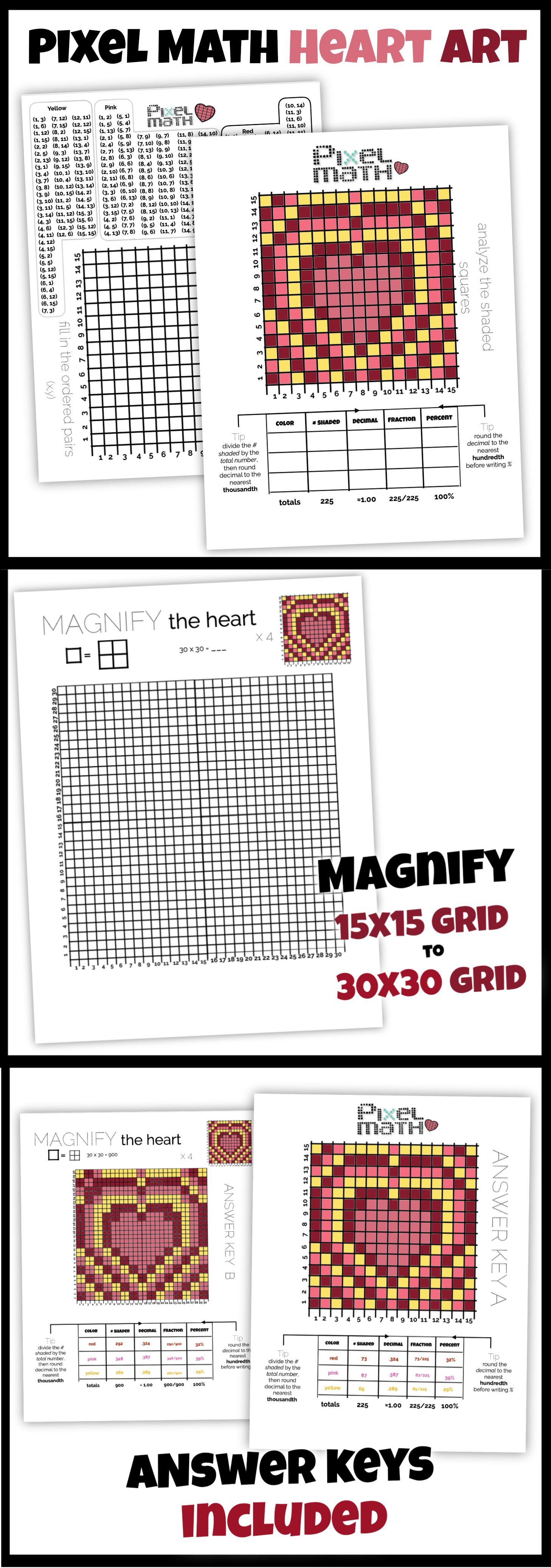 Heart Art Pixel Math Challenging And Creative Practice With Decimal Fraction Percent Math Challenge Math Heart Art [ 4147 x 1457 Pixel ]