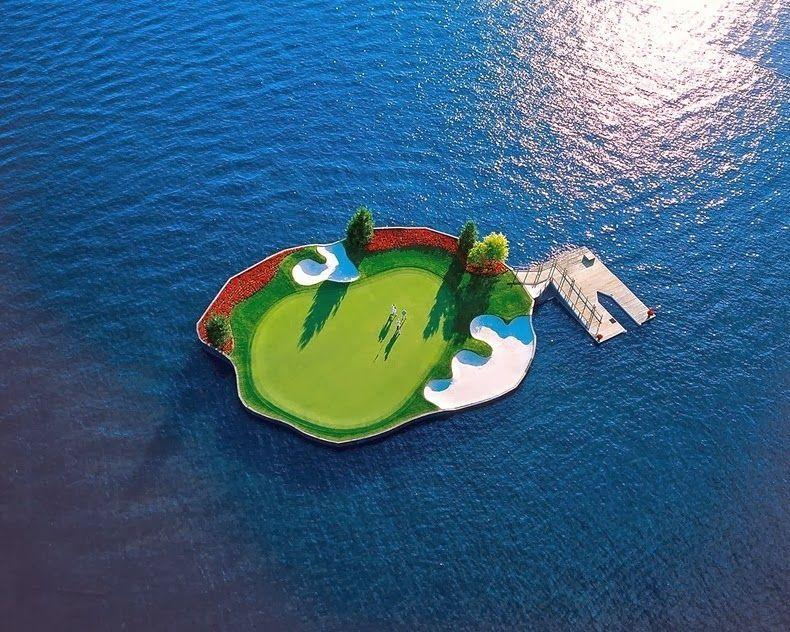 Floating Golf Course at Coeur d'Alene Resort
