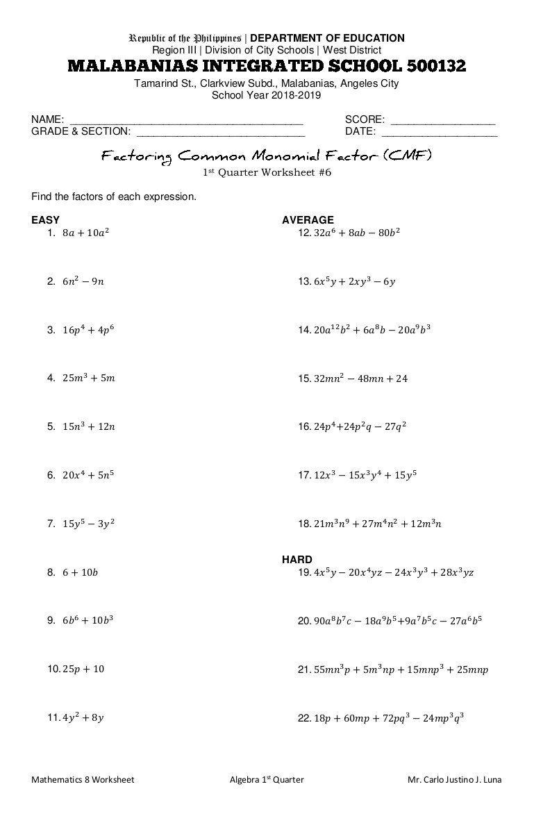 Factoring Expressions Worksheet 7th Grade Factoring The Mon Monomial Factor Worksheet In 2020 Probability Worksheets Greatest Common Factors Factor Trinomials