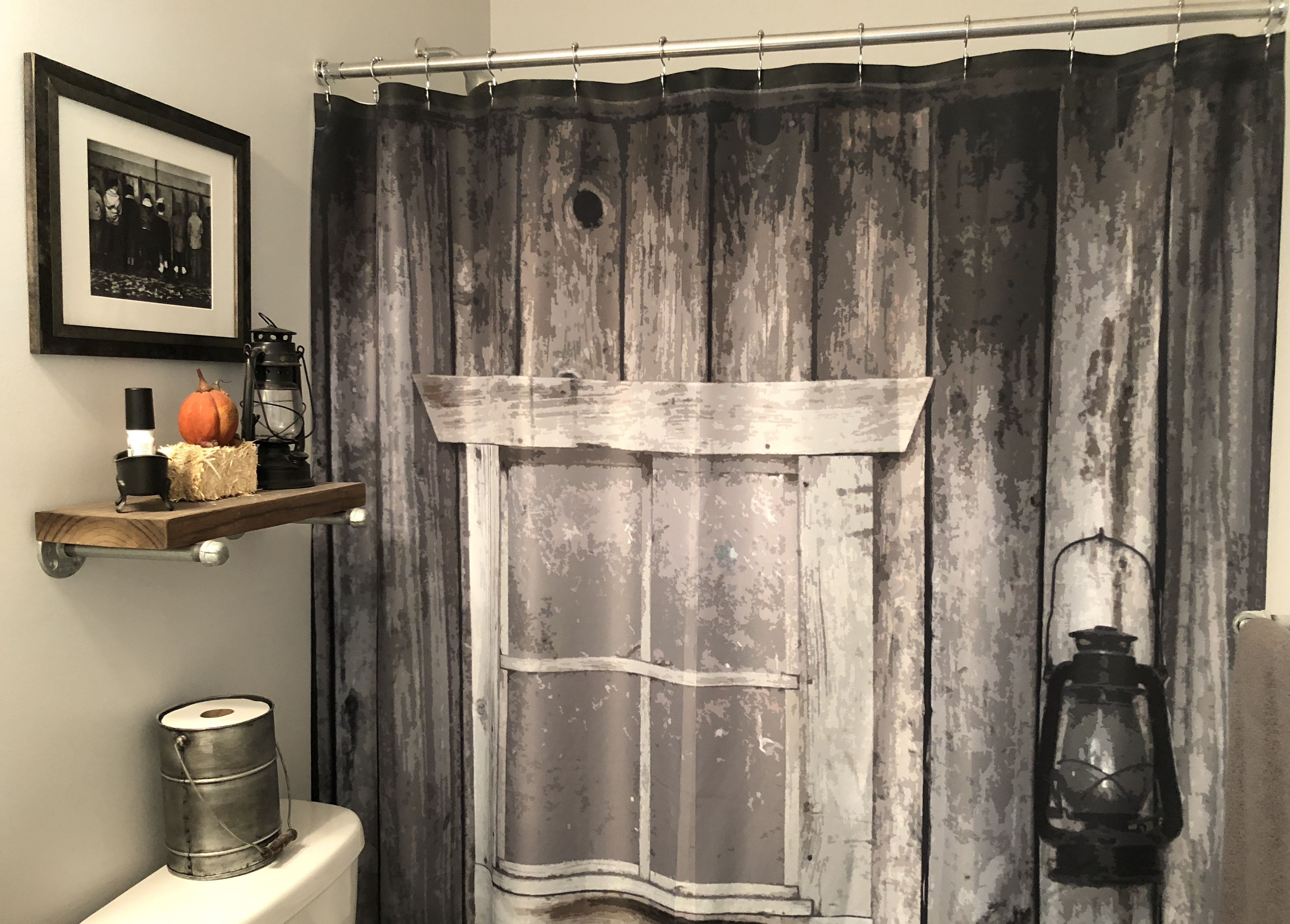 Rustic Shower Curtain Industrial Bathroom Farmhouse Bathroom