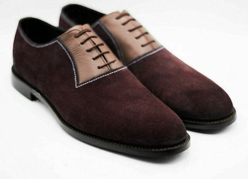 Oxford Two Tone Maroon Tan Suede Genuine Leather Lace Up Rounded Derby Toe Handmade Shoes