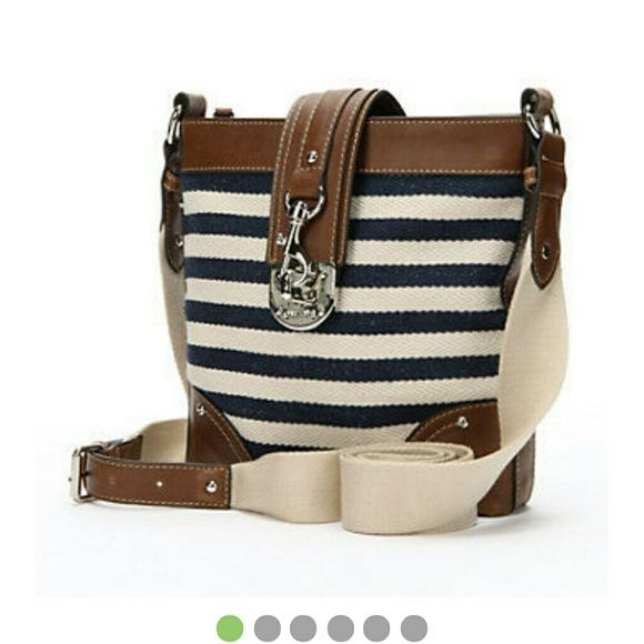 Chaps Navy White Crossbody Bag Complete Your Outfit With This Handbag Stripes Lend Bold Style To