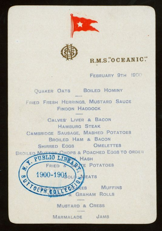 BREAKFAST [held by] RMS OCEANIC [at] RMS OCEANIC (SS;)