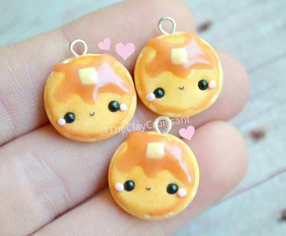 Happy Face Pancake Necklace Food Charm Kawaii Jewelry Polymer Clay Charm Smiley Face Charm Food Jewelry Pancake Charm Miniature Food