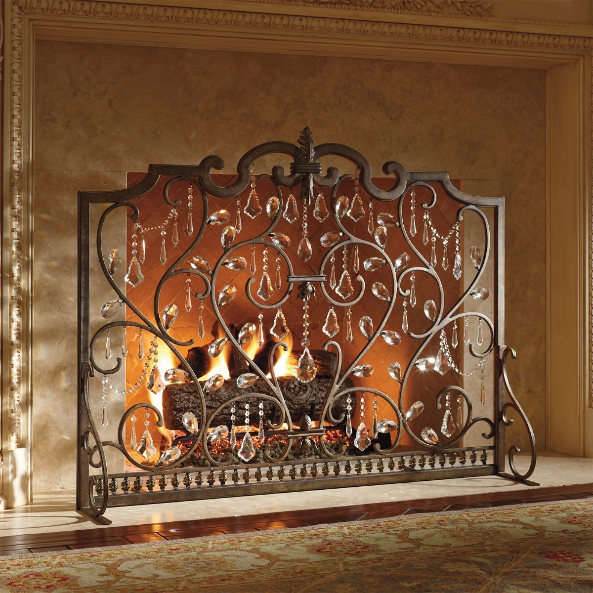 louviere fire screen frontgate stylish heat fireplace crystal
