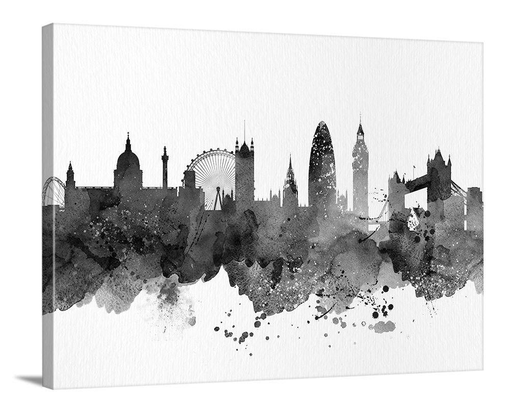 London Wall Art city wall art - art print, watercolor london canvas print - united
