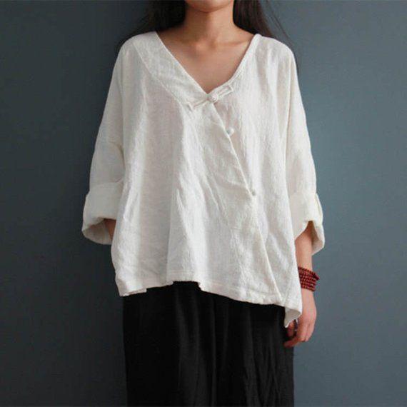 138352f060 Women Loose Linen Blouse