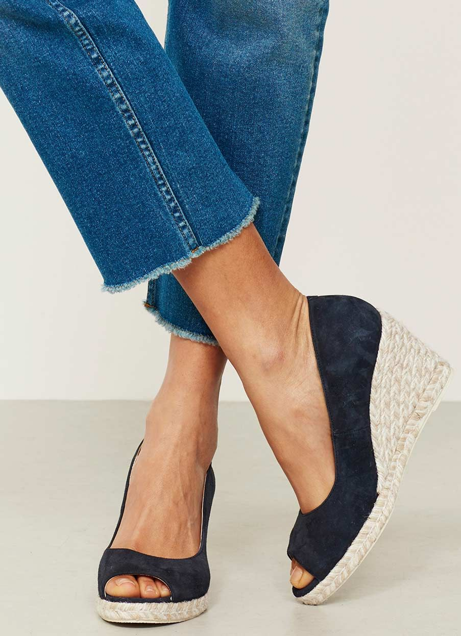 da442b72a3e Cleo Navy Peep Toe Wedge | Shoes | Peep toe wedges, Navy espadrille ...