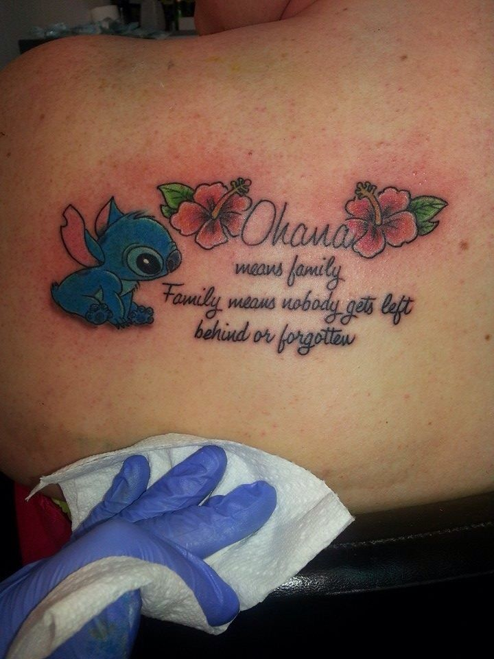 ohana means family family means nobody gets left behind or forgotten stitch tattoo by the. Black Bedroom Furniture Sets. Home Design Ideas