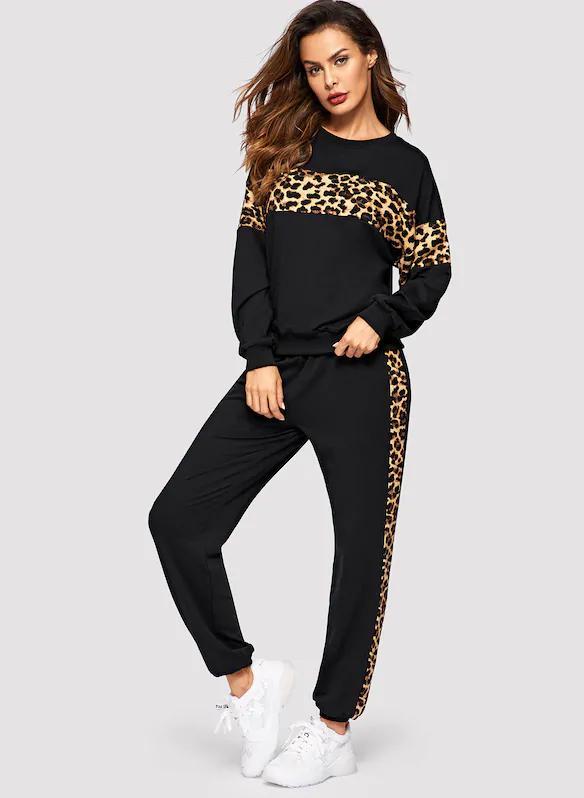 a6f15f51d Oriana Leopard Panel Sweatshirt And Sweatpants Set Ropa Deportiva