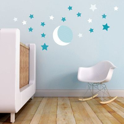 Trendy Peas Moon And Stars Wall Decal Color White Teal