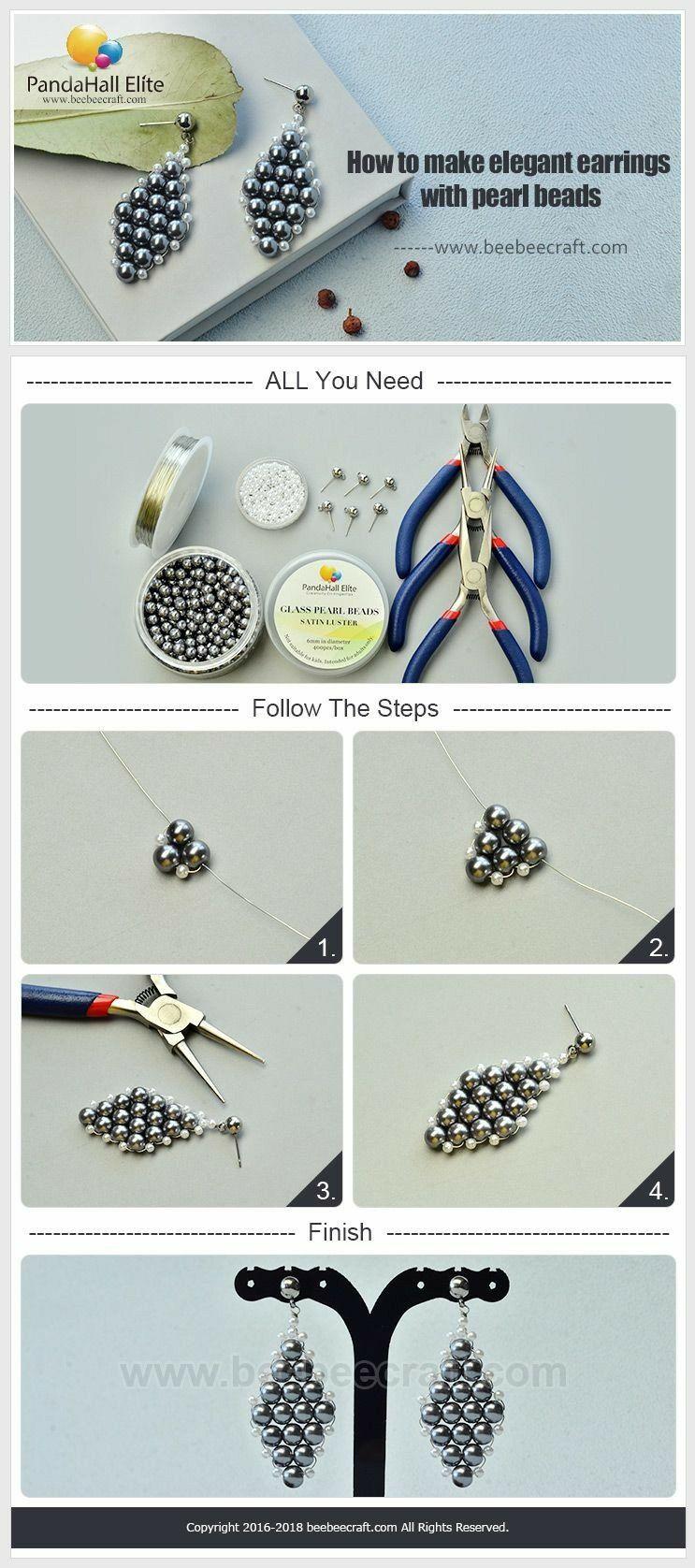 d3c0ecd66 Bisutería PASO A PASO para hacer estos elegantes aretes con perlas ...