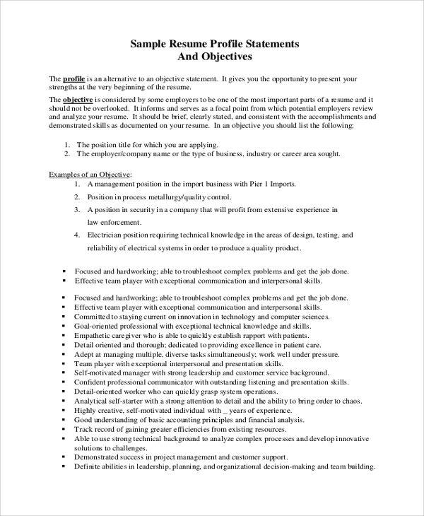 sample job objective statement documents pdf word resume work - job objective statement