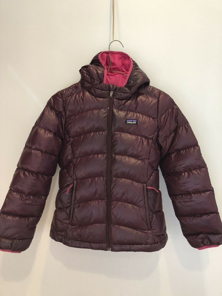 725b5d78a14e Patagonia Girls  Bordeaux Hi-Loft Down Sweater Hoody Jacket Sz M 10 ...