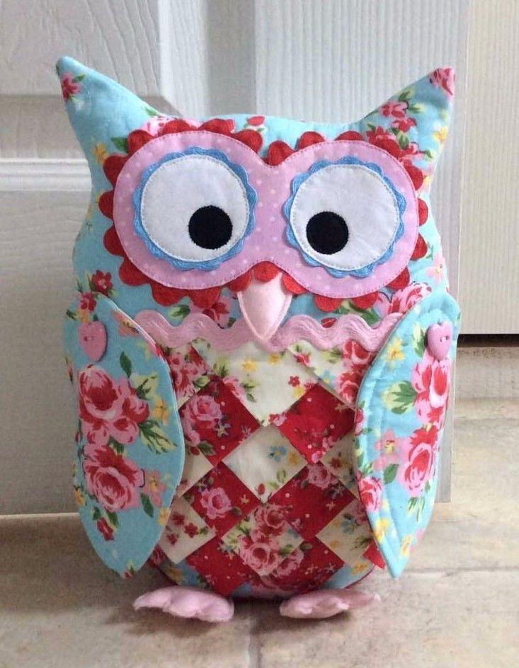 Patchwork / quilting applique owl doorstop door hanger \u0026 key fob sewing pattern & PATCHWORK / QUILTING APPLIQUE OWL DOORSTOP DOOR HANGER \u0026 KEY FOB ... pillowsntoast.com