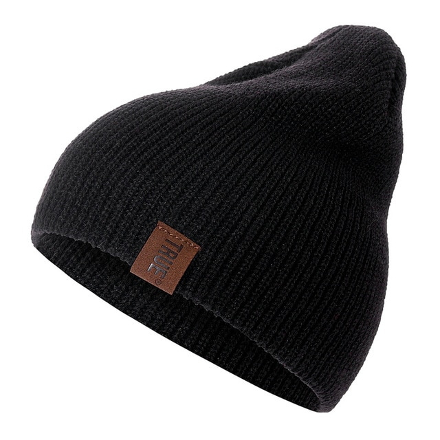 eb51fb81e 1 Pcs Hat Pu Letter True Casual Beanies For Men Women Warm Knitted ...